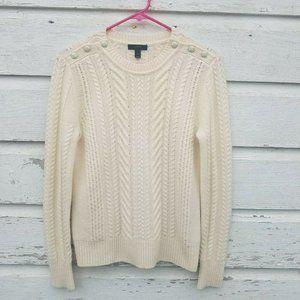 J. Crew Ivory 100% Wool Sweater